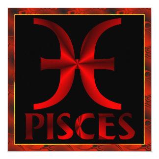 Símbolo rojo del horóscopo de Piscis Invitación 13,3 Cm X 13,3cm