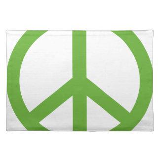 Símbolo verde del signo de la paz salvamanteles