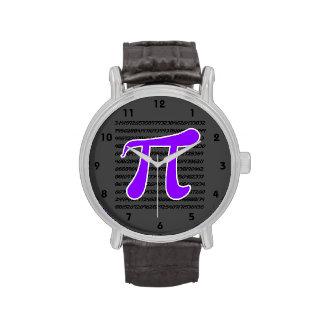 Símbolo violeta de la púrpura pi reloj de mano