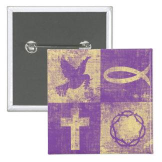 Símbolos cristianos chapa cuadrada 5 cm