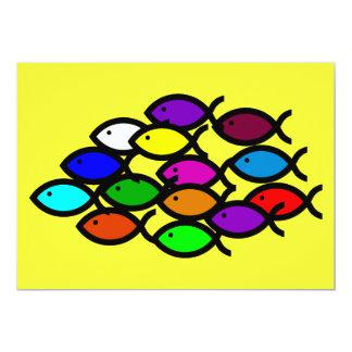Símbolos cristianos de los pescados - escuela del invitación 12,7 x 17,8 cm