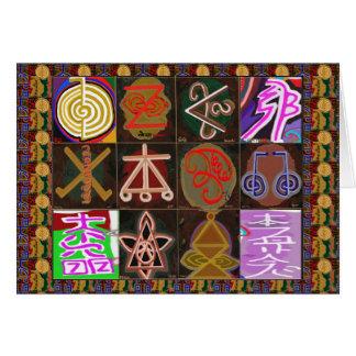 Símbolos curativos de REIKI Karuna - texto del Tarjeta De Felicitación