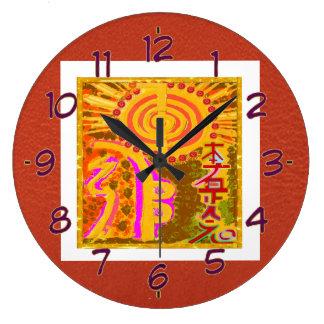 Símbolos curativos de REIKI Reloj Redondo Grande