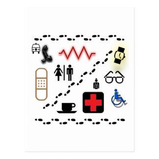 Símbolos de la salud tarjetas postales