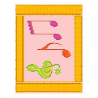 Símbolos de música multicolores de baile postal