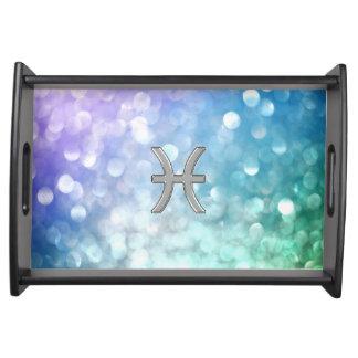 Símbolos iridiscentes del zodiaco de Piscis Bandejas