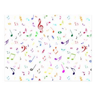 Símbolos musicales en colores del arco iris postal