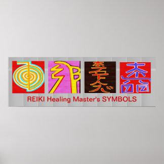 Símbolos principales de REIKI - base de OmMANTRA Póster