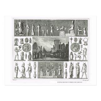 Símbolos religiosos egipcios tarjeta postal