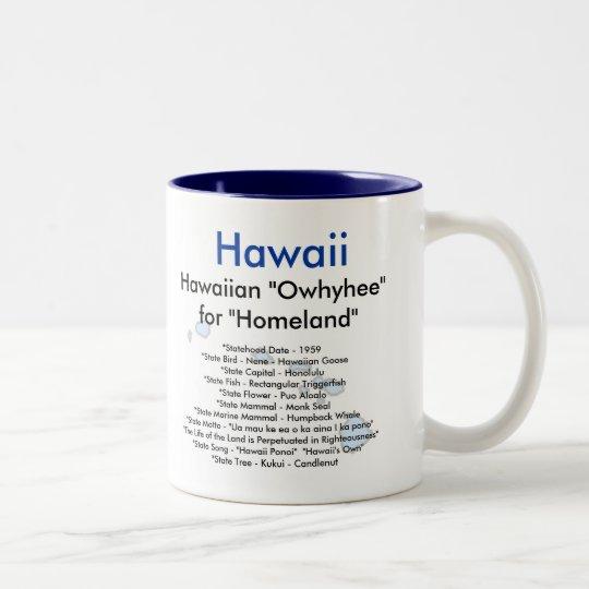 Símbolos y mapa de Hawaii Taza De Café De Dos Colores