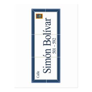 Simon Bolivar, placa de calle, Sucre, Bolivia Postal