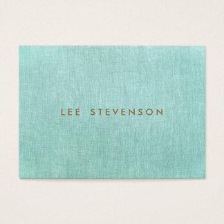 Simple, azules turquesas, mirada de lino, tarjeta de negocios