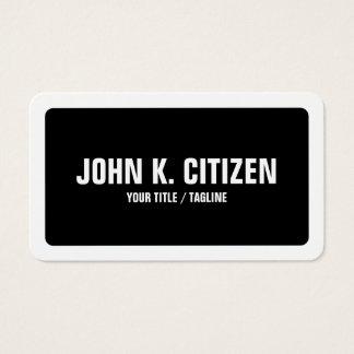 Simple intrépido negro y blanco redondeada tarjeta de visita