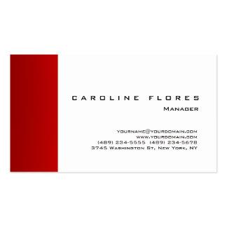 Simple llano profesional moderno rojo blanco de tarjetas de visita