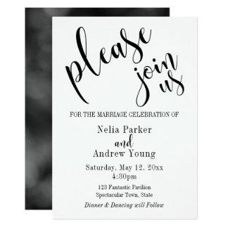 """Simple, moderno """"únase a por favor nos"""" boda de la invitación 12,7 x 17,8 cm"""