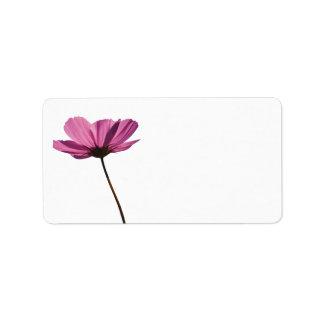 Simple pink flower etiqueta etiquetas de dirección