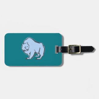 , Simple y hermosa oso azul dibujado mano moderna Etiqueta Para Maletas