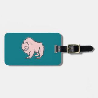 , Simple y hermosa oso rosado dibujado mano Etiqueta Para Maletas