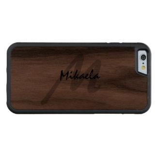 Simplemente con monograma personalizada funda protectora de nogal para iPhone 6 de carved