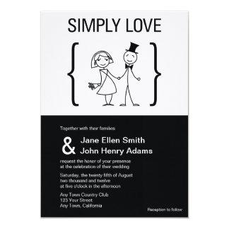 Simplemente invitación del boda del amor