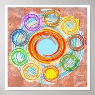 Simplicidad: Círculos, Chakra, ondas, bosquejo Póster