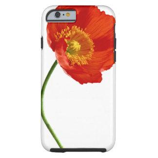 Simplicidad roja de la amapola funda de iPhone 6 tough