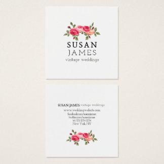 Simplista floral de la acuarela de los rosas tarjeta de visita cuadrada