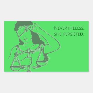 Sin embargo, ella persistió pegatina (verde)