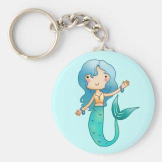 Sirena alegre del dibujo animado llavero redondo tipo chapa