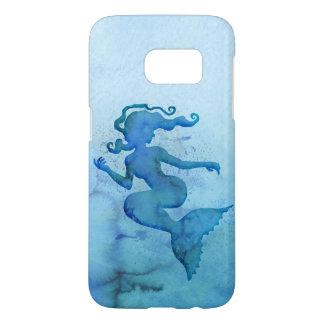 Sirena azul de la acuarela funda samsung galaxy s7