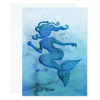 Sirena azul de la acuarela invitación 13,9 x 19,0 cm