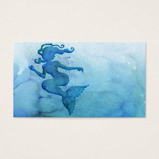 Sirena azul de la acuarela tarjeta de visita