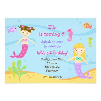 Sirena bajo invitaciones de la fiesta de cumpleaño invitacion personalizada