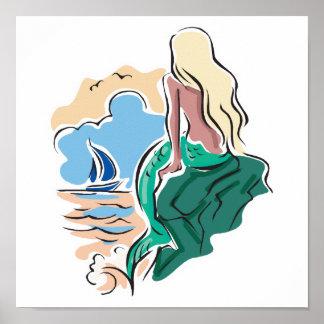 sirena bonita que se sienta en roca póster