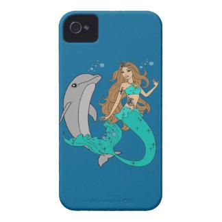 Sirena con el delfín funda para iPhone 4
