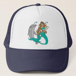 Sirena con el delfín gorra de camionero