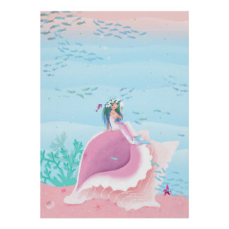 Sirena con el ejemplo de los niños de la corona de póster