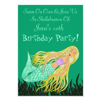 Sirena (cumpleaños) invitación 12,7 x 17,8 cm