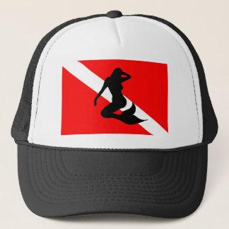 Sirena de la bandera de la zambullida gorra de camionero
