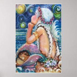 Sirena de la noche estrellada, estrellada póster