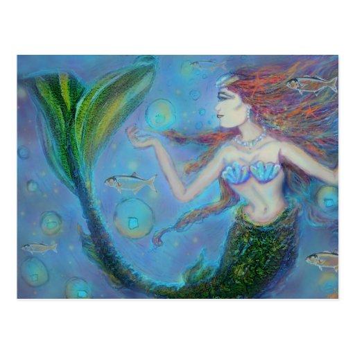 "Sirena de Piscis 5,6"""" postal del paisaje x4.25"