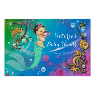 Sirena debajo de la fiesta de bienvenida al bebé póster