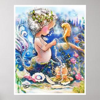 Sirena del bebé y una cadena de perlas póster