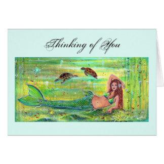 Tarjeta Sirena del Calypso con la tarjeta de las tortugas