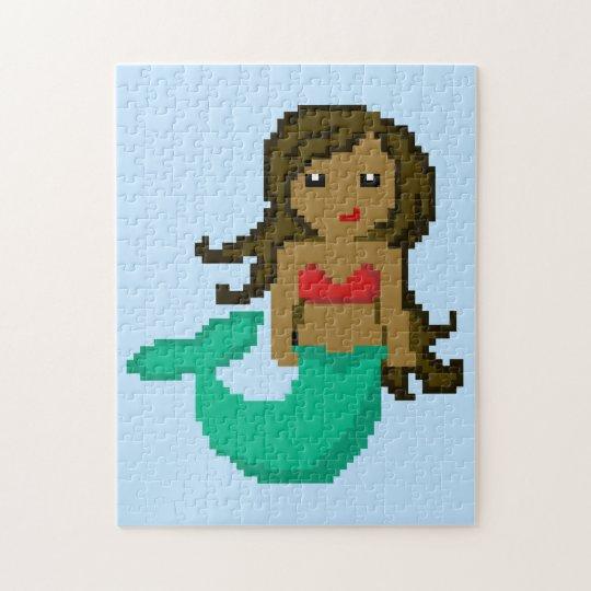 sirena del océano del friki del pixel 8Bit - piel Puzzle