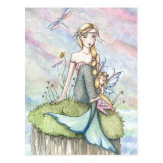 Sirena del pen¢asco y postal mágicas de la hada