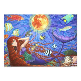 Sirena del Redhead en corsé con la luna y los Invitación 12,7 X 17,8 Cm