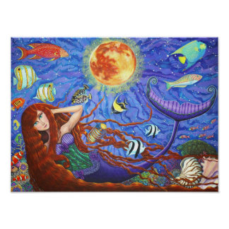 Sirena del Redhead en corsé con la luna y los pesc Poster