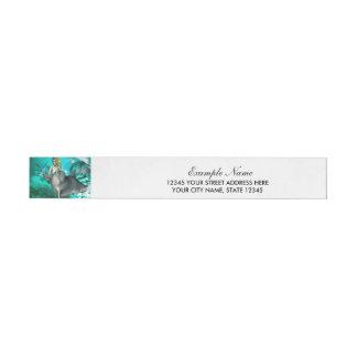 Sirena hermosa con el delfín lindo etiquetas postales
