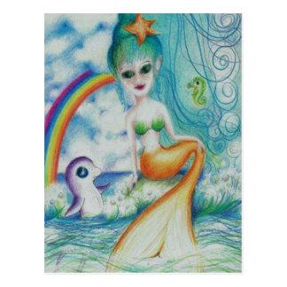 Sirena mística mágica postal